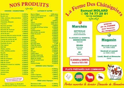 Liste des produits - Ferme des Chataigniers